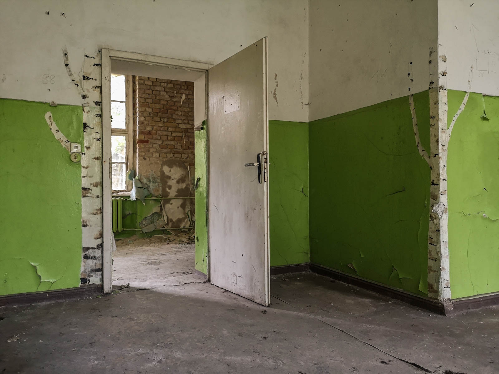 Birken Graffiti verlassene sowjetische Schule